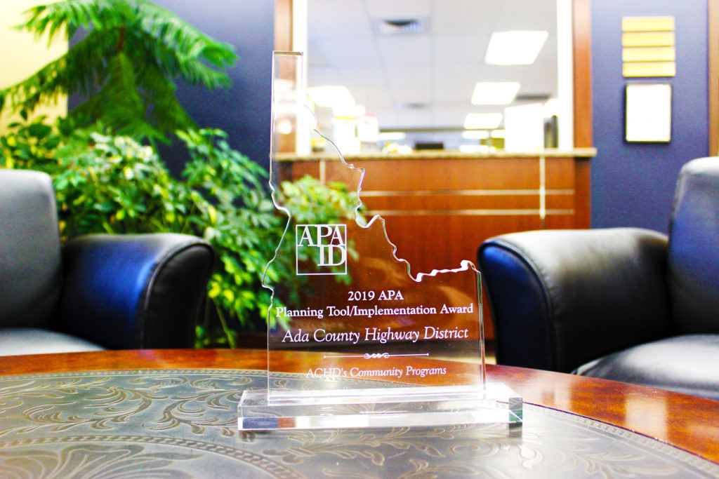 Photo of the 2019 APA Planning Tool/Implementation Award sitting on a table.